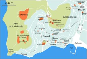 Plan d'Ohrid et ses églises (cliquer pour agrandir).