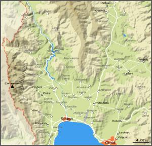 Carte de l'arrière-pays d'Ohrid et Struga (cliquer pour agrandir).